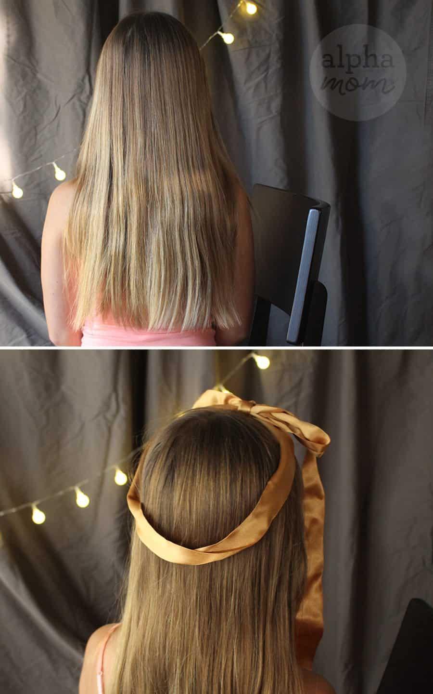 Five-Minute Kids' Holiday Fancy Up-Do Hair (Steps 1 & 2) by Brenda Ponnay for Alphamom.com