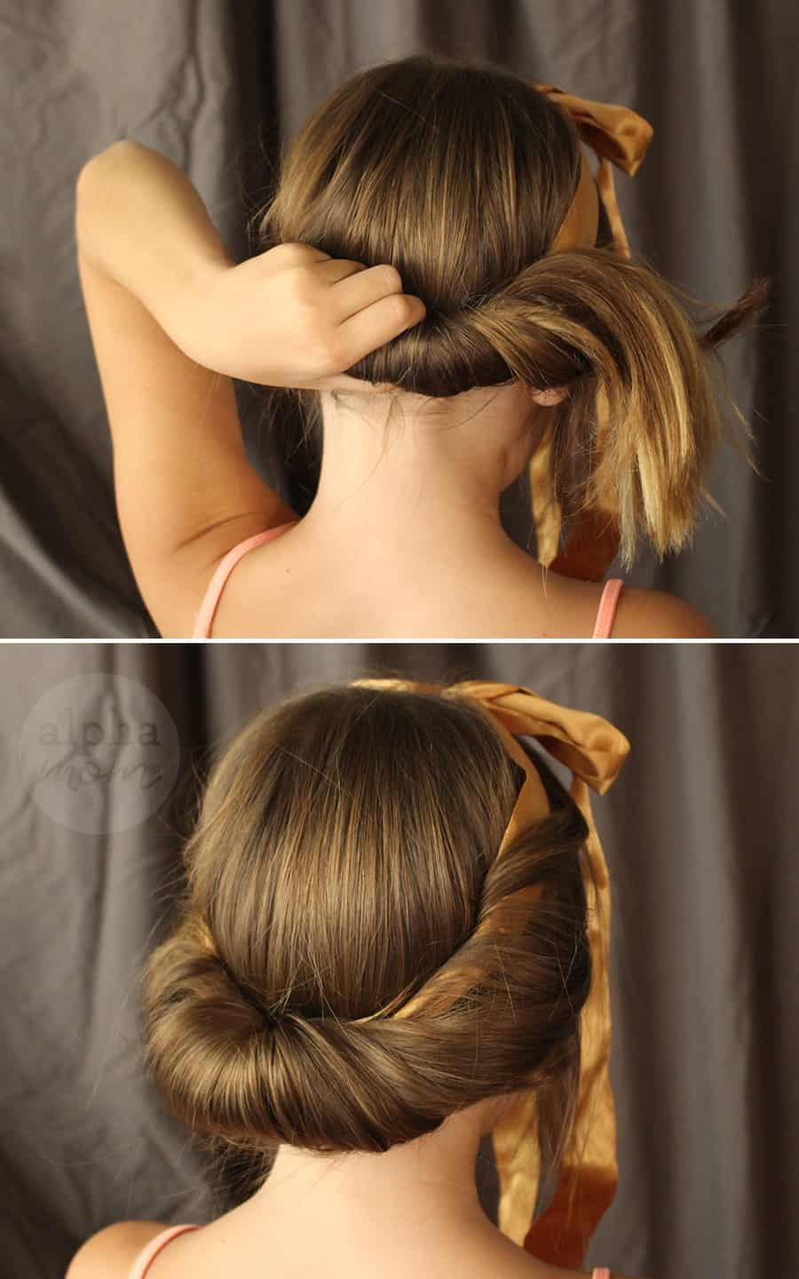 Five-Minute Kids' Holiday Fancy Up-Do Hair (Steps 3 & 4) by Brenda Ponnay for Alphamom.com