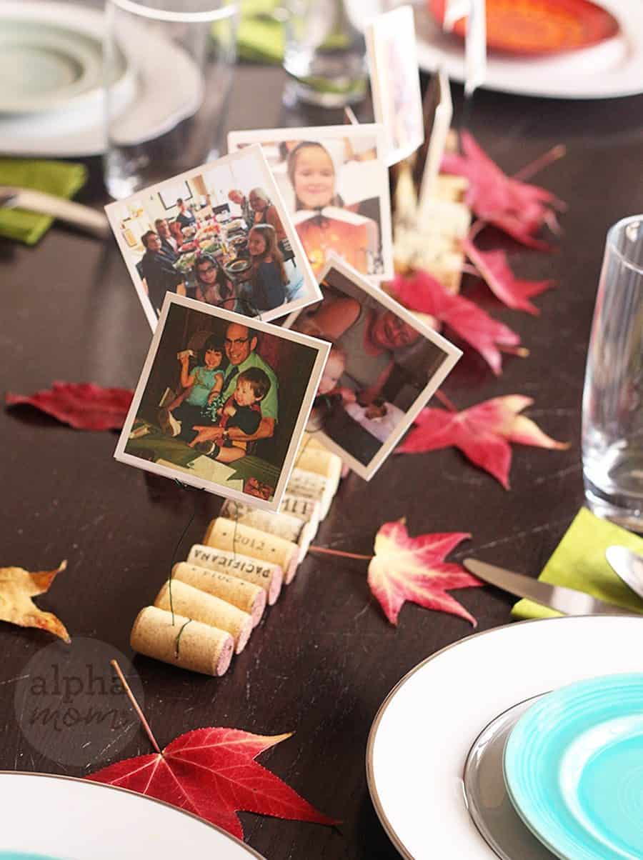 Family Memories on Display for Thanksgiving! A DIY Photo Cork Centerpiece (photos) by Brenda Ponnay for Alphamom.com