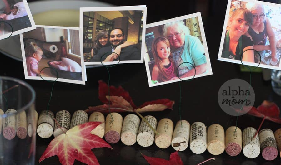 Family Memories on Display for Thanksgiving! A DIY Photo Cork Centerpiece by Brenda Ponnay for Alphamom.com