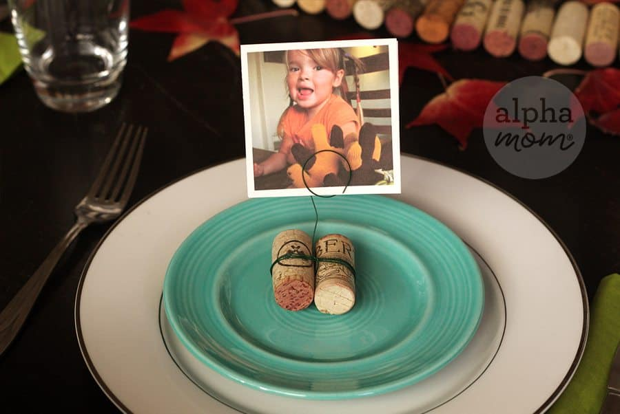 Family Memories on Display for Thanksgiving! A DIY Photo Cork Centerpiece (place setting) by Brenda Ponnay for Alphamom.com
