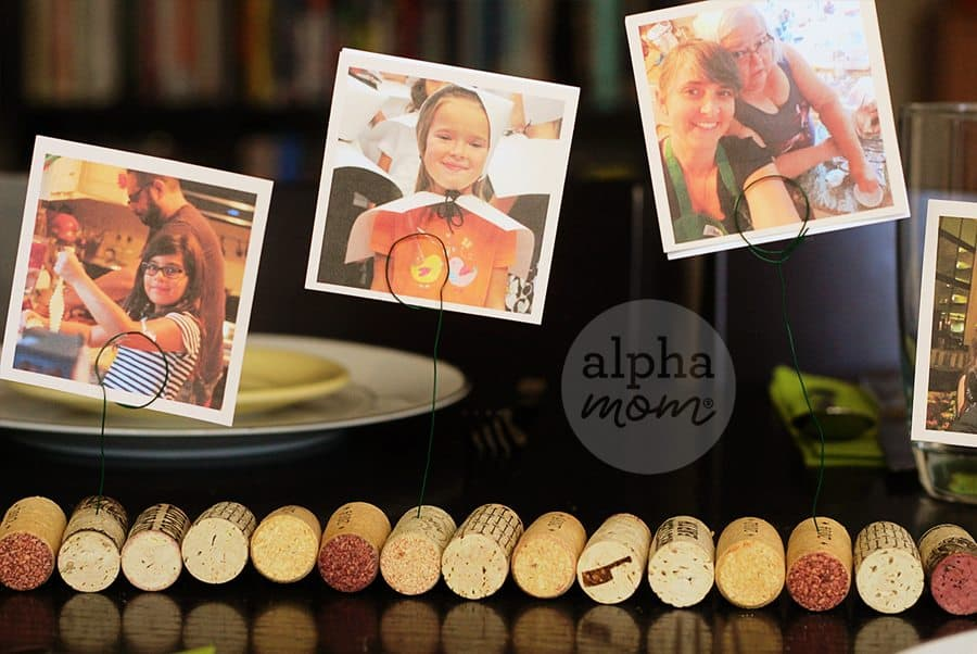 Family Memories on Display for Thanksgiving! A DIY Photo Cork Centerpiece (photo memories) by Brenda Ponnay for Alphamom.com