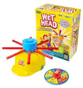 Wet Head Game Review: Wet Head is basically the same concept as the original Pie Face (just water instead of whip cream). My kids laughed a lot while playing this game. After trying it out one afternoon, they pulled it out later that night to play it again. As a parent, I'd rather clean up water than whip cream so it definitely works for me.