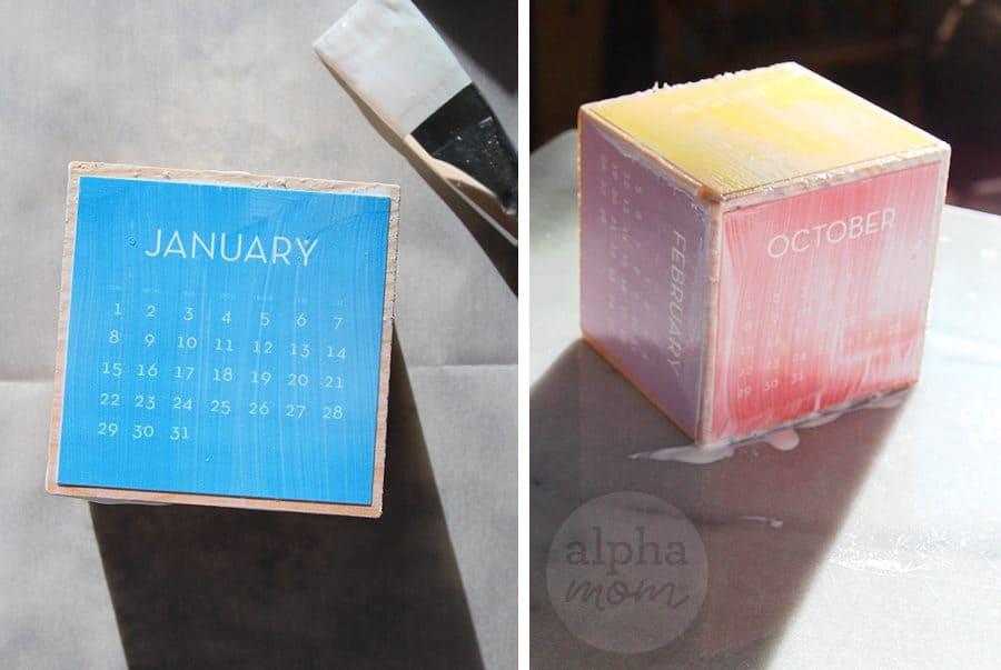 Start the New Year with a Block Calendar DIY! (Modge Podge) by Brenda Ponnay for Alphamom.com