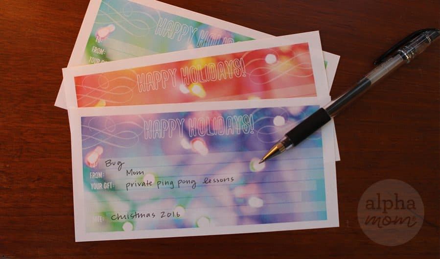 Give Your Teens the Gift of Experiences (Gift Certificate Printables) by Brenda Ponnay for Alphamom.com