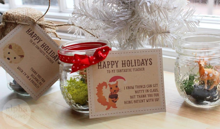 Holiday Teacher Appreciation Gift: Terrariums with Adorable Gift Tags (FREE and for download) by Brenda Ponnay for Alphamom.com (gifts)
