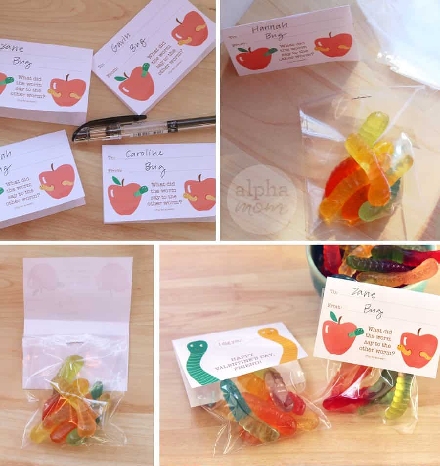 how to make a gummy worm valentine's day treat bag