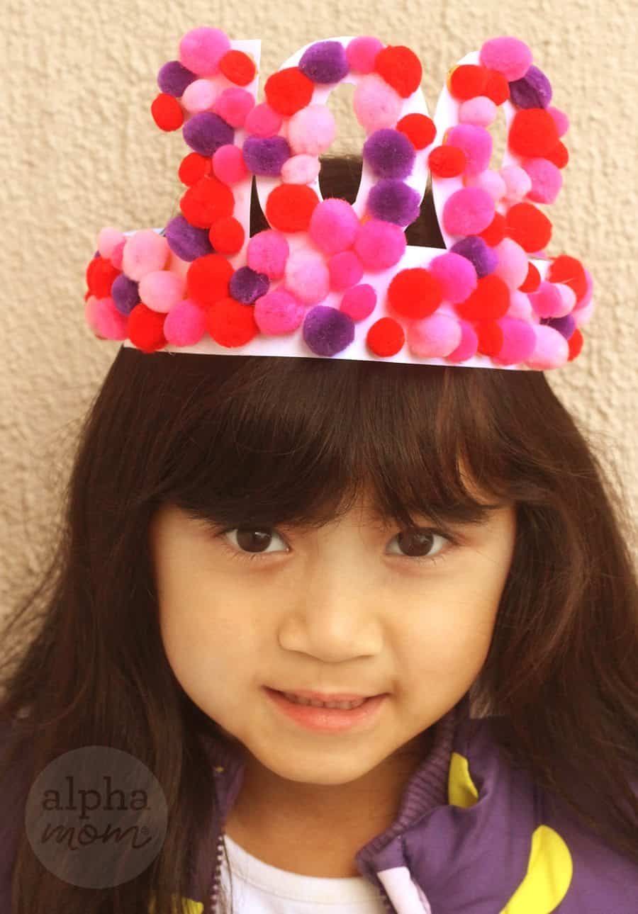 100th Day of School Crown Craft (with pom poms) by Brenda Ponnay for Alphamom.com