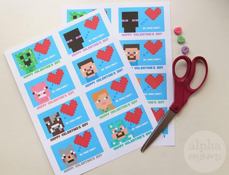 image relating to Printable Valentine Cards for Classmates referred to as Minecraft Valentines Working day Playing cards for Clmates Alpha Mother