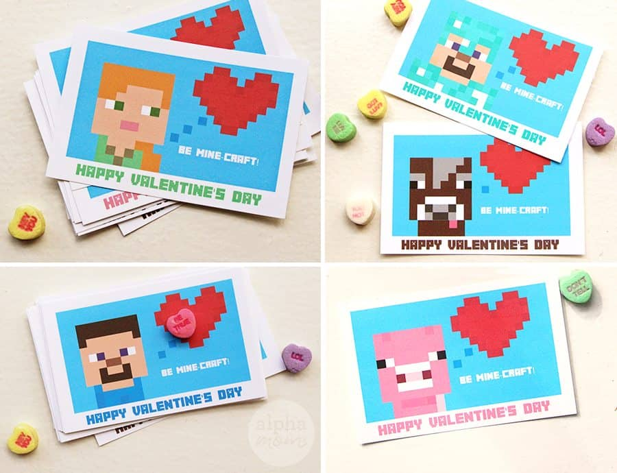 Minecraft Valentine's Day Cards (just add candy) for Classmates by Brenda Ponnay for Alphamom.com
