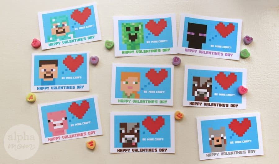 photo about Printable Valentine Cards for Classmates known as Minecraft Valentines Working day Playing cards for Clmates Alpha Mother