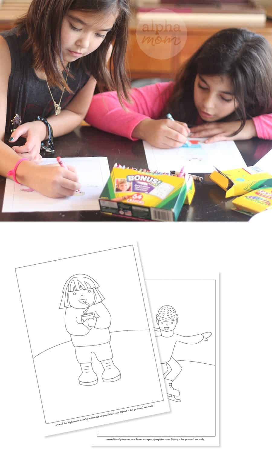 Snow Day Coloring Sheets for a Winter-Themed Party by Brenda Ponnay for Alphamom.com