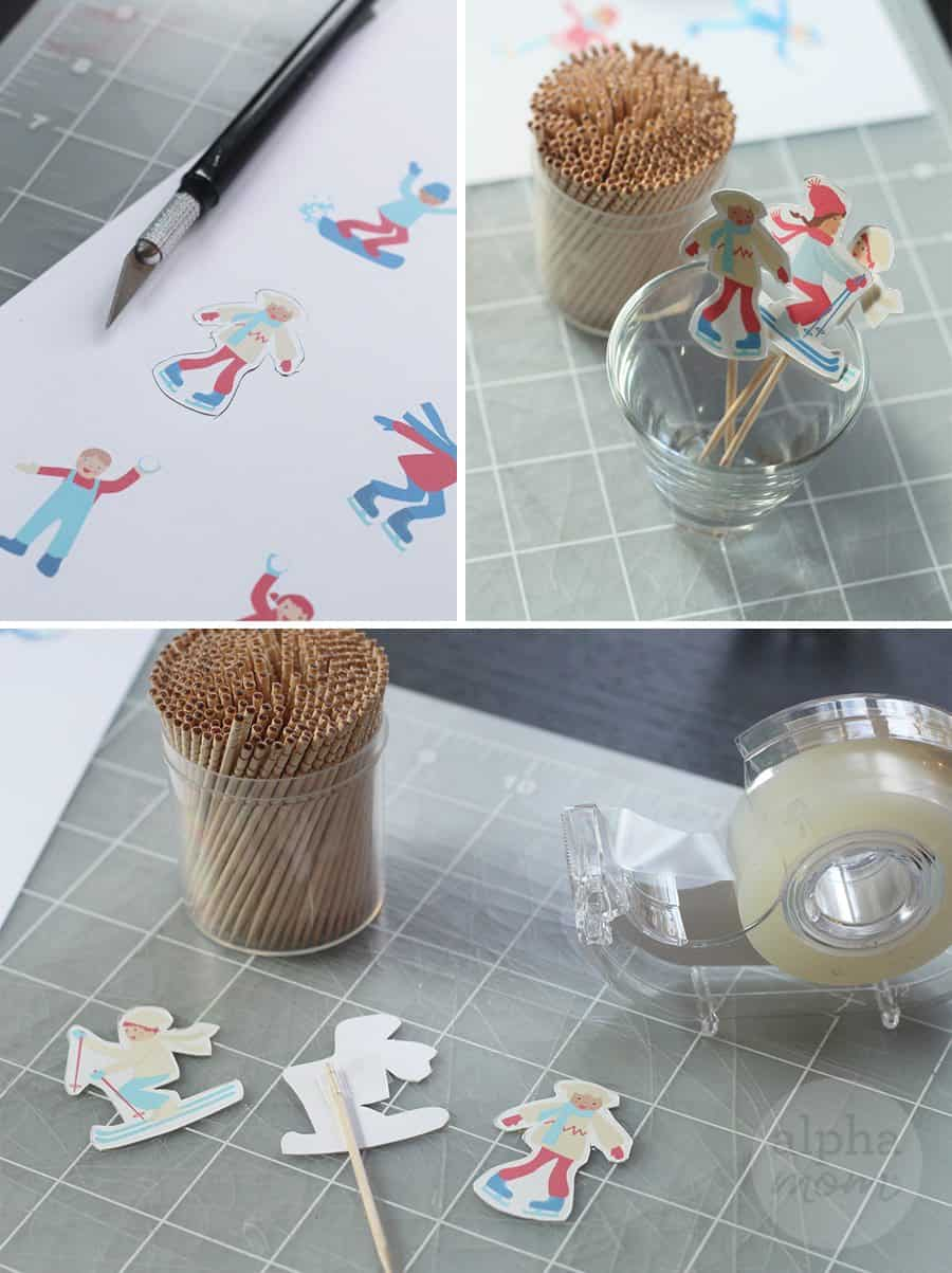 Snow Day Fun Cupcakes for a Winter-Themed Party (cutting cupcake toppers) by Brenda Ponnay for Alphamom.com