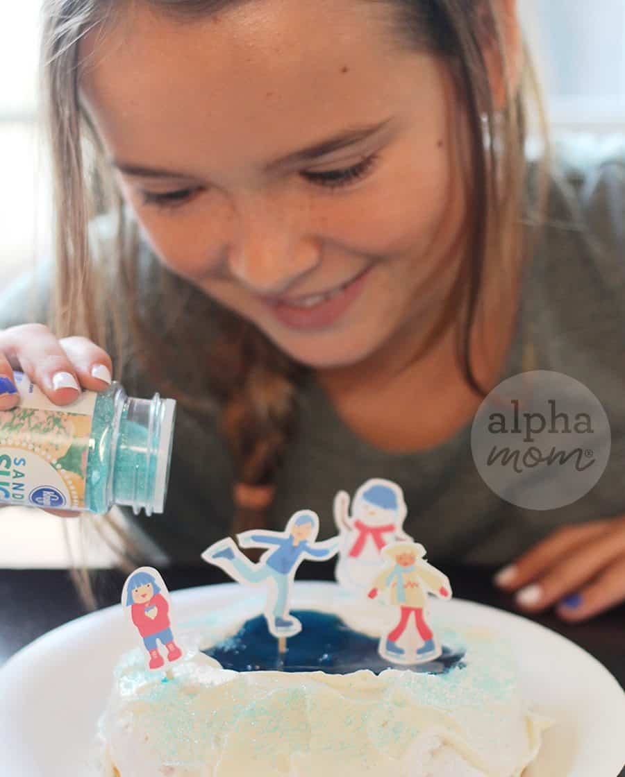"Snow Day Fun Cupcakes for a Winter-Themed Party (decorating ice skating rink ""jello"" pond) by Brenda Ponnay for Alphamom.com"
