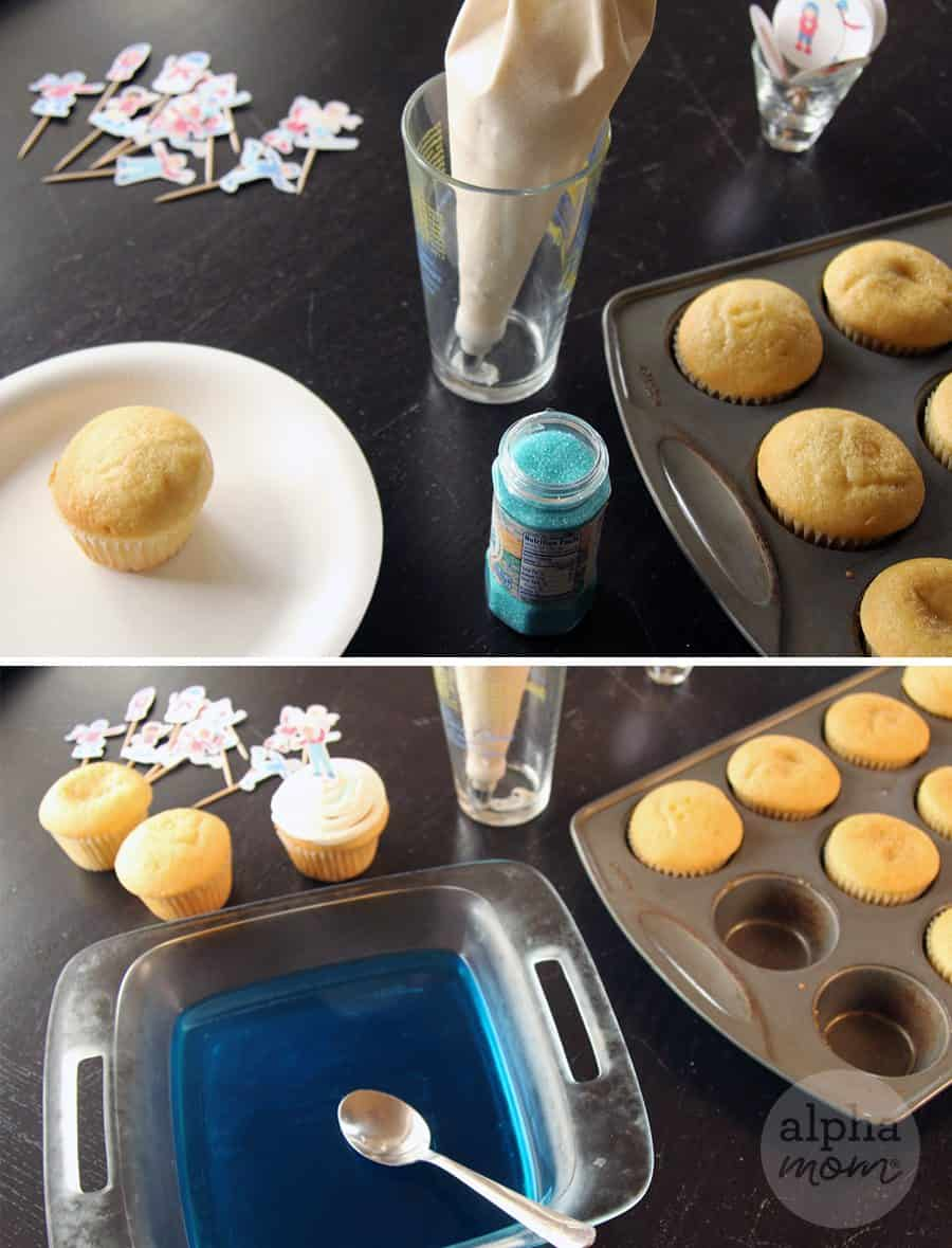 Snow Day Fun Cupcakes for a Winter-Themed Party (cupcake assembly) by Brenda Ponnay for Alphamom.com