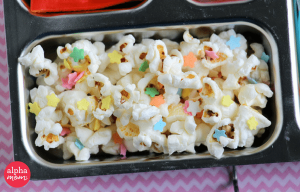 Unicorn Bento Box (popcorn & rainbow sprinkles) by Wendy Copley for Alphamom.com