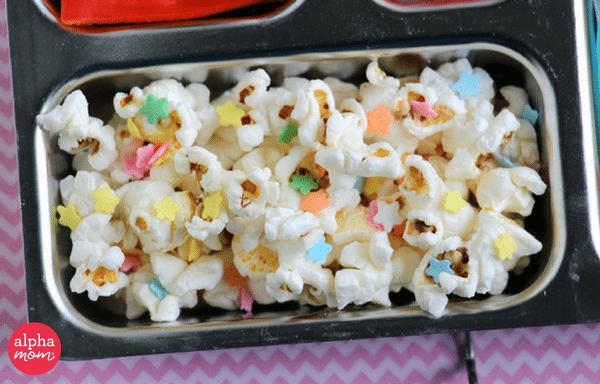 Unicorn Bento Box (popcorn & rainbow sprinkles) by Wendy Copley for Alphamom.com