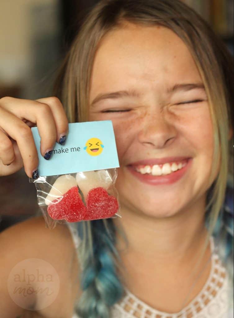 Emoji Candy Valentines for Kids (funny face) by Brenda Ponnay for Alphamom.com
