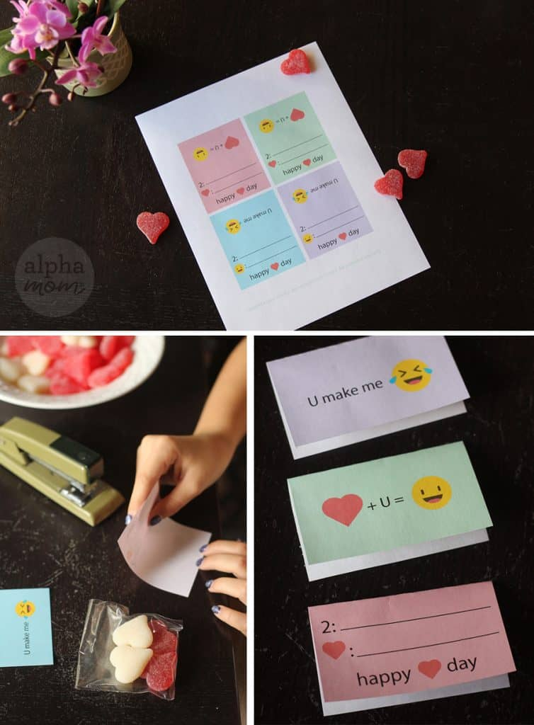 Supplies for Emoji Candy Valentines for Kids
