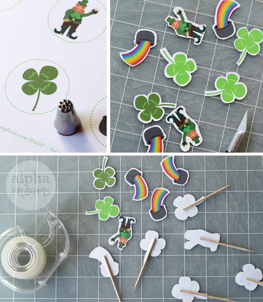 Paper leprechauns and four leaf clovers for craft