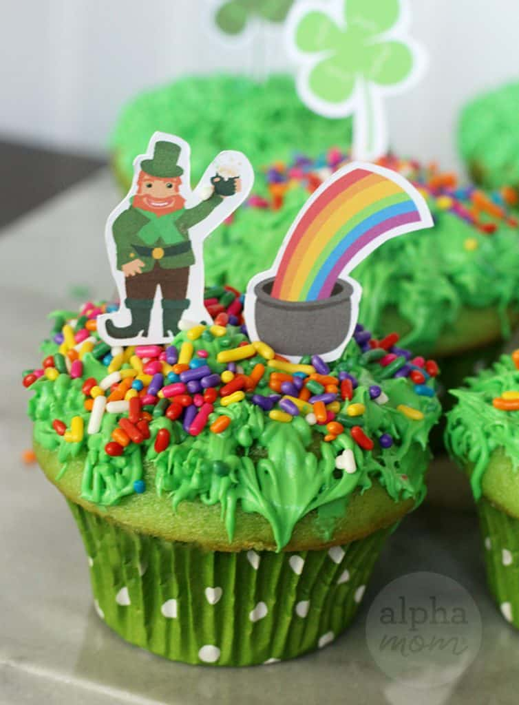 Close up of Leprechaun cupcakes