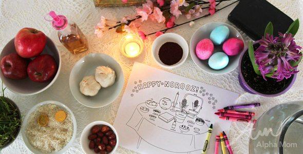 Happy Nowruz! Haft-Seen Coloring Sheet Printable for Kids by Brenda Ponnay for Alphamom.com