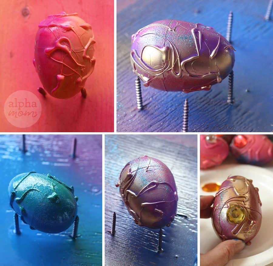 Dragon Eggs (spray paint) for a super cool Easter Egg Hunt! by Brenda Ponnay for Alphamom.com