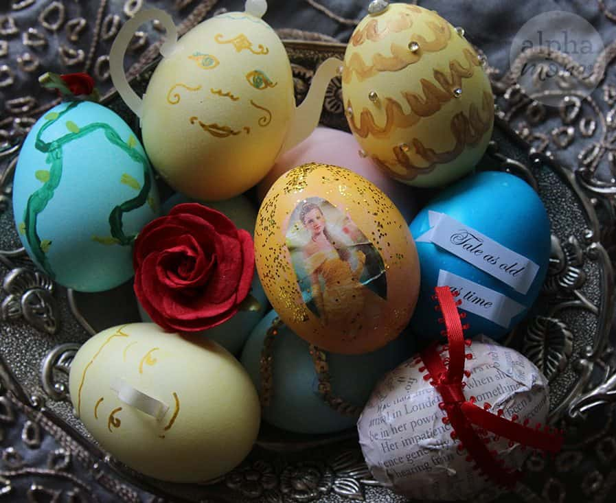 Beauty and the Beast inspired Easter eggs in a bowl
