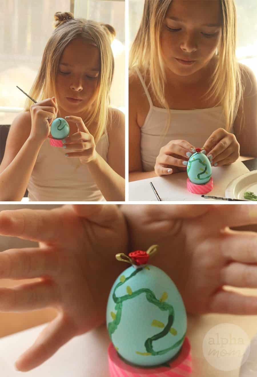 10 Beauty and the Beast Inspired Easter Egg DIYs: Enchanted Rose (by Brenda Ponnay for Alphamom.com)