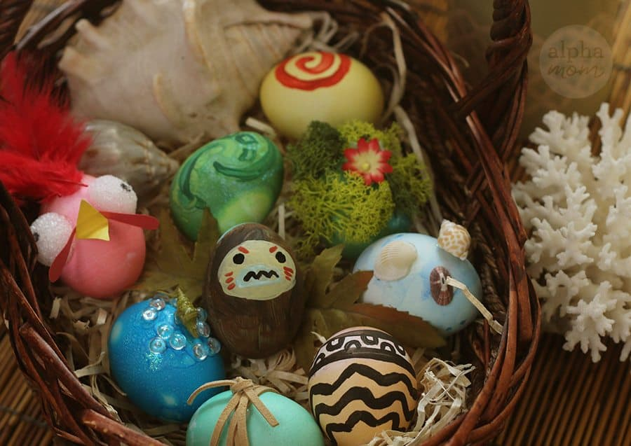8 Moana-Inspired Easter Eggs in a basket