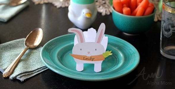 Bunny Name Cards printable for Your Easter Celebration! by Brenda Ponnay for Alphamom.com