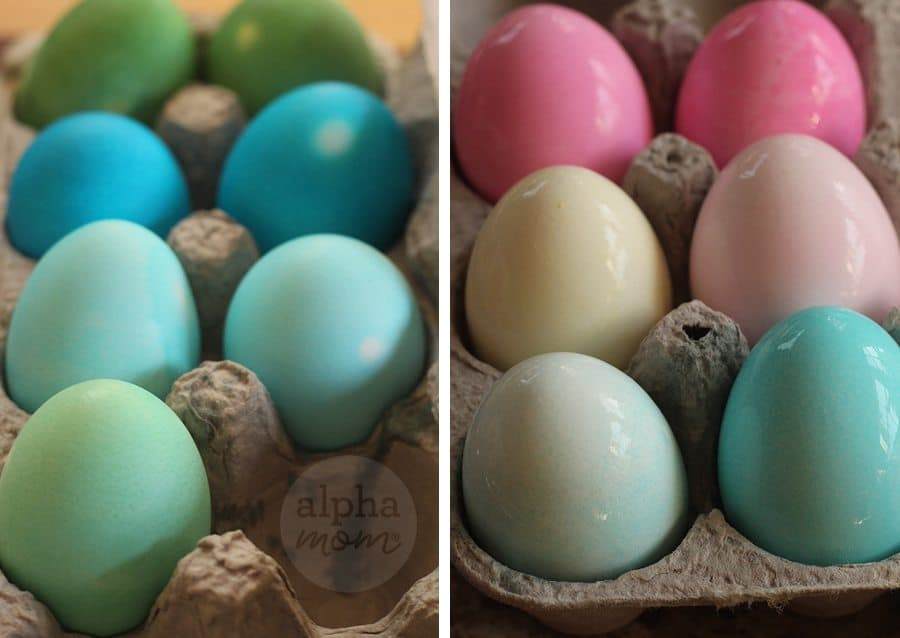 Easter eggs in an egg carton