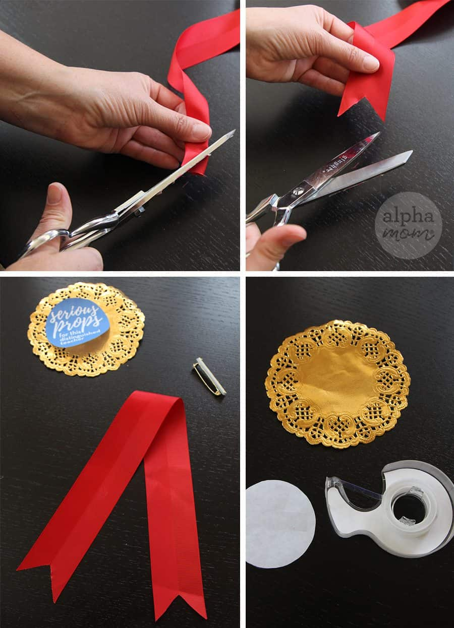 Teacher Appreciation Badges DIY (tutorial) by Brenda Ponnay for Alphamom.com