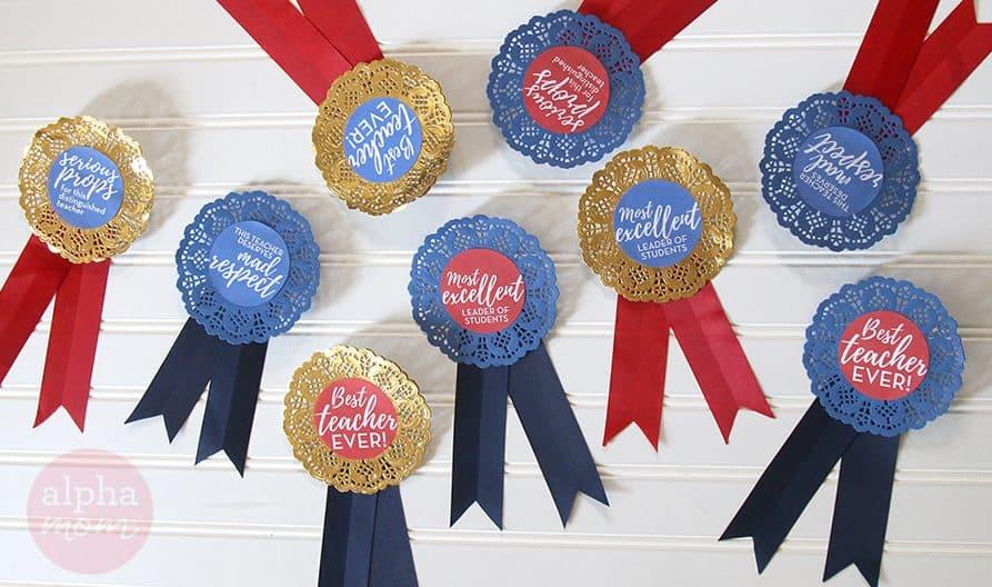 Teacher Appreciation Badges DIY by Brenda Ponnay for Alphamom.com