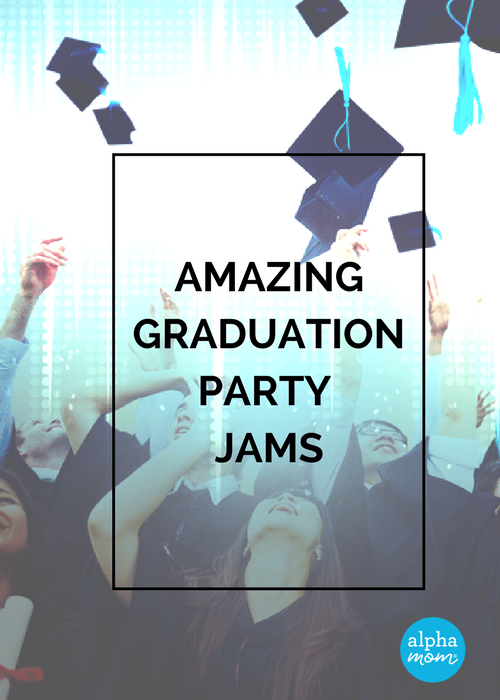 graduates throwing their caps into the air and looking up, words Amazing Graduation Party Jams overlaid on picture