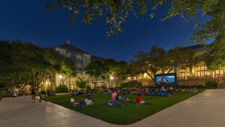 Texas-Sized Family Fun at Hyatt Regency Hill Country Resort: Movie on the lawn