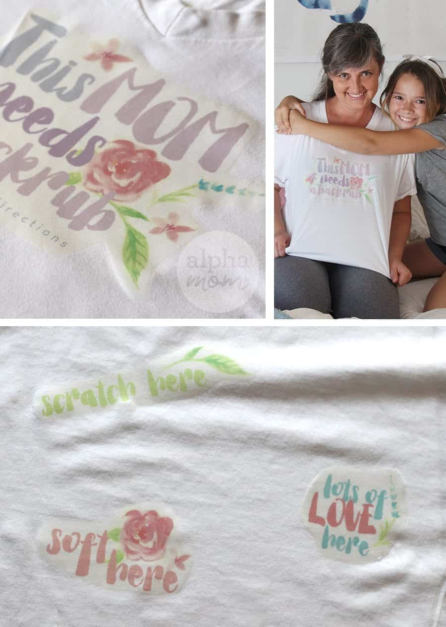 Back massage t-shirt for mom