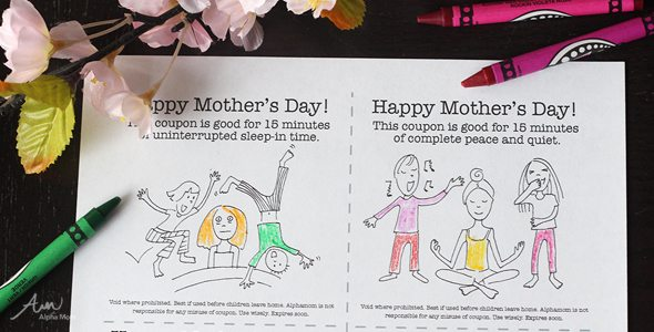 Printable Mother's Day Gift Coupons from the Kids by Brenda Ponnay for Alphamom.com