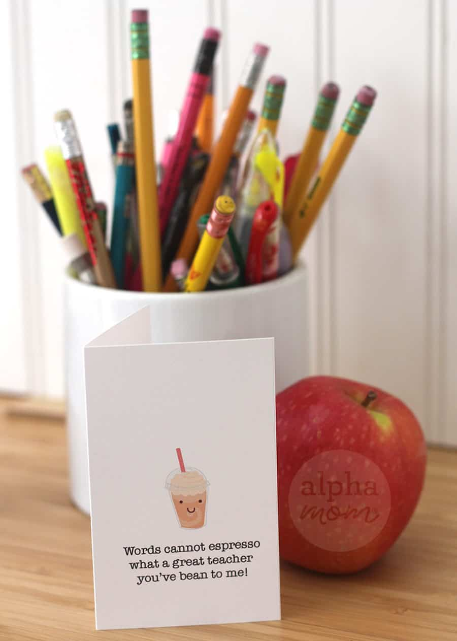 Fun Coffee Gift Card Holders just for Teacher for Brenda Ponnay for Alphamom.com (frapuccino)