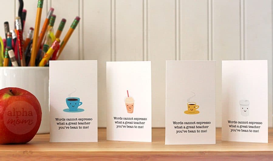 Fun Coffee Gift Card Holders just for Teacher for Brenda Ponnay for Alphamom.com (whole selection)