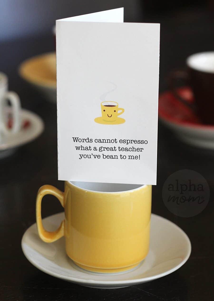 Fun Coffee Gift Card Holders just for Teacher for Brenda Ponnay for Alphamom.com