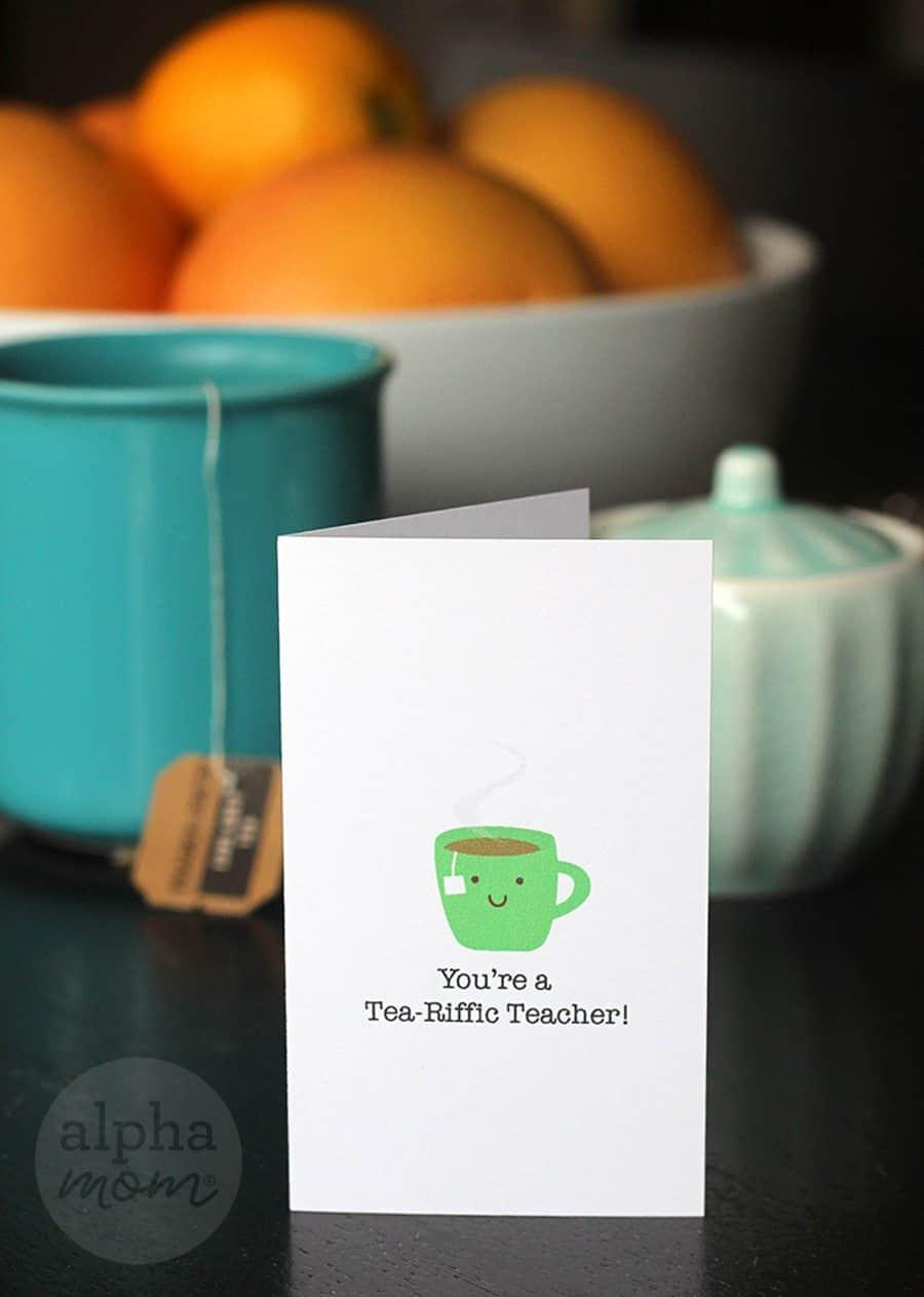 You're a Tea-Riffic Teacher! Appreciation Cards by Brenda Ponnay for Alphamom.com (green mug)