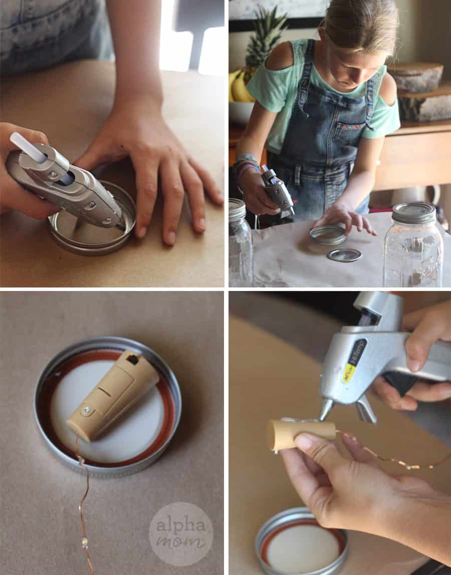 steps for making light-up fairy jars (hot gluing)