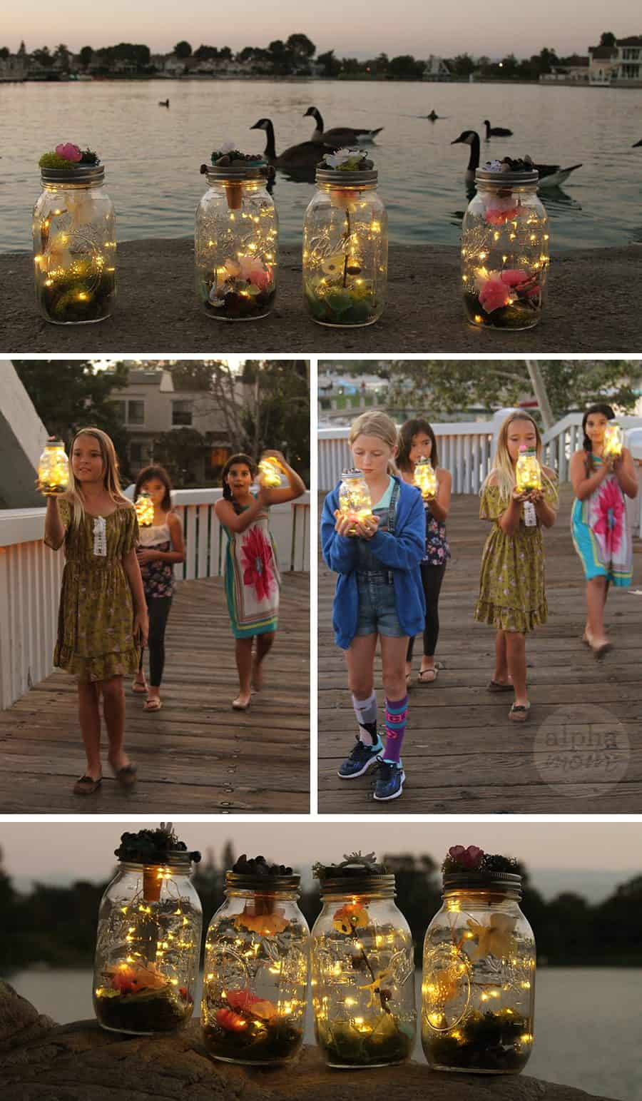 Kids Learn to Make Their Own Light-Up Fairy Jars (sunset) by Brenda Ponnay for Alphamom.com