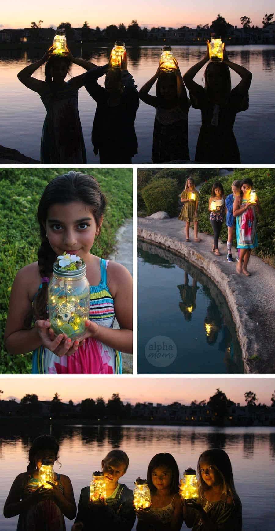 Children holding Light-up fairy jars at sunset by the water