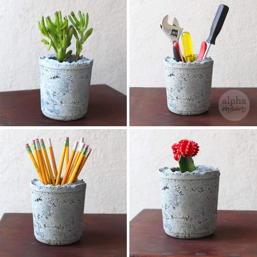 Summer Gardening: Cement Planter DIY (cement container uses) by Brenda Ponnay for Alphamom.com