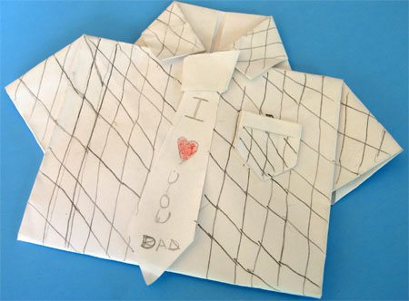 Father's Day Craft: Shirt & Tie Origami Card by Cindy Hopper for Alphamom.com