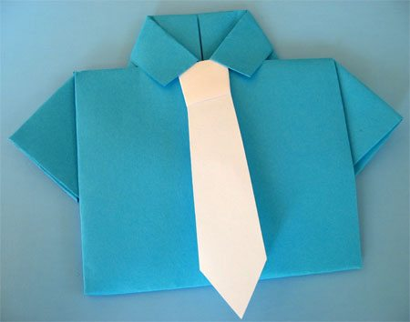 Father's Day Craft: Shirt & Tie Origami Card by Cindy Hopper for Alphamom.com (step 14)