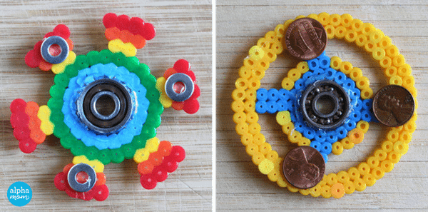 DIY Fidget Spinners with Fuse Beads (add weights) by Wendy Copley for Alphamom.com