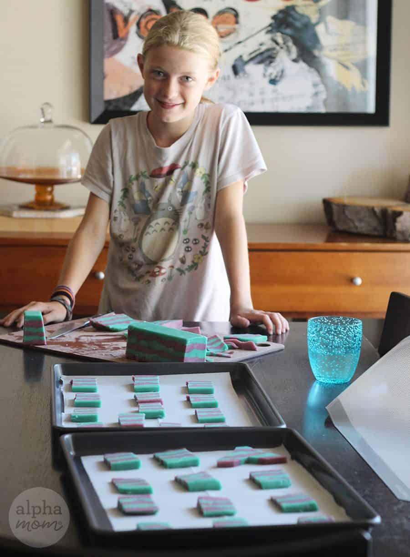 Preparing to bake mermaid icebox cookies